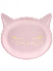 Vaaleanpunainen kissanpentu- pahvilautaset 22 x 20 cm 6 kpl
