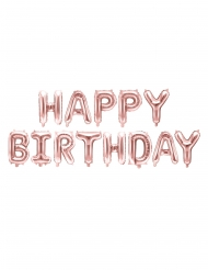 Ruusukultaiset Happy Birthday- ilmapallot 340 x 35 cm
