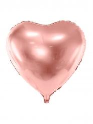 Alumiininen ruusukullanvärinen sydän-ilmapallo 45 cm