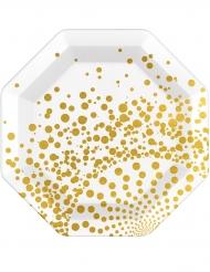 Kultakoristeiset pahvilautaset 23 cm 6 kpl
