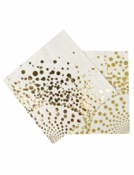Kultakoristeiset servetit 33 x 33 cm 16 kpl