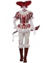 Psykopaattiklovnin punavalkoinen naamiaisasu naiselle