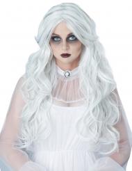 Pitkä valkoinen kummituksen peruukki naiselle