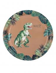 Vihreä/kullanväriset dinosauruslautaset pahvista 23 cm 8 kpl