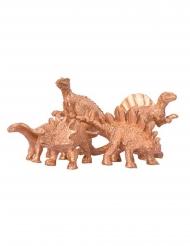 Kullanväriset koristedinosaurukset 6 x 1,5 cm 5 kpl