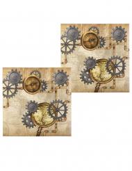 Steampunk- servetit 33 x 33 cm 12 kpl