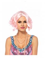 Lyhyt vaaleanpunainen peruukki naiselle