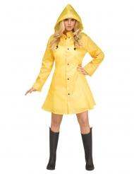 Keltainen sadeasu naiselle
