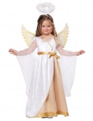 Pienen enkelin valkokultainen naamiaisasu tytölle