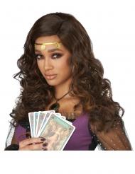 Kihara pitkä ruskea peruukki naiselle