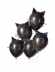 Mustat lateksiset kissailmapallot 30 cm 5 kpl