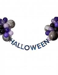 Halloween-köynnös mustilla ja violeteilla ilmapalloilla