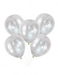 Hopeanväriset enkelin hiukset- läpinäkyvät ilmapallot 30 cm