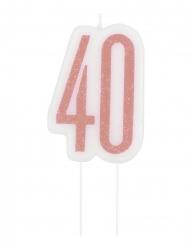 Vaaleanpunainen 40- syntymäpäiväkynttilä 7 cm