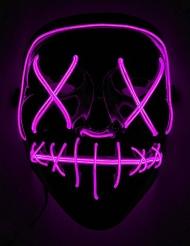 Fuksianvärinen LED-naamari aikuiselle
