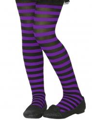 Violetti-mustaraidalliset sukkahousut