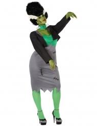 Keinotekoisen monsterin vihreä plus-kokoinen naamiaisasu naiselel