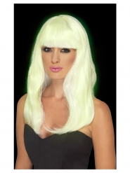Valkoinen pimeässä hohtava peruukki naiselle