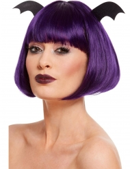 Violetti polkkatukkaperuukki lepakon siivillä naiselle