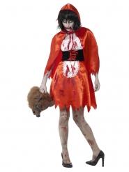 Satiininen zombipunahilkan naamiaisasu naiselle