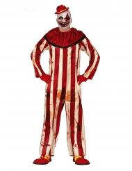 Kammottavan klovnin punavalkoinen naamiaisasu miehelle halloween