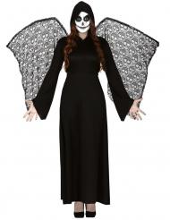 Kuoleman enkelin naamiaisasu mustilla siivillä naiselle