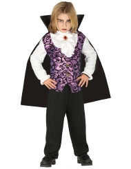 Nuoren vampyyrin violettimusta naamiaisasu pojalle
