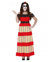Meksikolainen Dia de los muertos- naamiaisasu naiselle