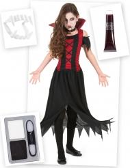 Vampyyrin naamiaisasu ja asusteet tytölle