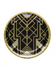 20-luvun pahvilautaset, musta/kulta 23 cm 8 kpl