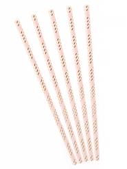 Kultaraidalliset vaaleanpunaiset pahvipillit 19,5 cm 10 kpl