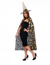Noidan mustakultainen hattu ja viitta naiselle