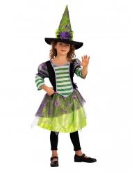 Hämähäkkinoidan naamiaisasu vihreällä hatulla tytölle