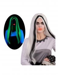 Pitkä pimeässä hohtava valkomusta peruukki naiselle
