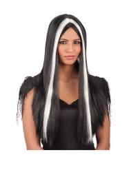 Pitkä mustavalkoinen peruukki