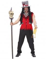 Punaisen voodoo-papin naamiaisasu miehelle