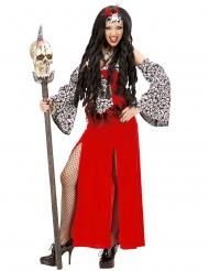 Punaisen voodoo- parittaren naamiaisasu naiselle