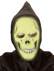 Pimeässä loistava viikatemiehen vihreä naamari hupulla aikuiselle