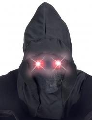 Musta kokonaamari punaisilla valosilmillä aikuiselle
