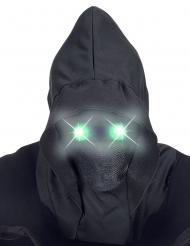 Näkymättömät kasvot- naamari ja vihreät valosilmät aikuiselle