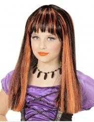 Noidan mustaoranssi peruukki tytölle