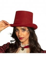 Tummanpunainen steampunk-hattu aikuiselle