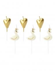 Joutsenet ja kullanväriset sydämet- kakkukynttilät 3,5 - 4 cm