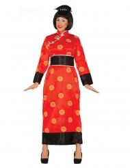 Punainen kiinalainen naamiaisasu naiselle