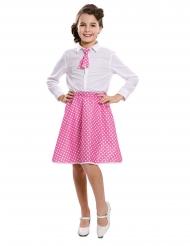 Vaaleanpunainen pin-up- kravatti ja hame tytölle