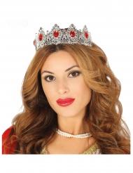 Prinsessan tiara punaisilla tekojalokivillä aikuiselle