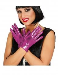 Fuksianväriset metalliset hanskat naiselle