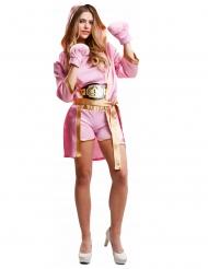 Vaaleanpunainen nyrkkeilijän naamiaisasu naiselle
