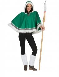 Eskimon vihreä poncho naiselle