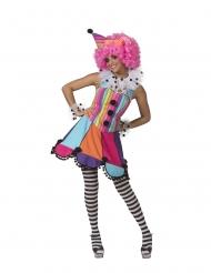 Klovnin sateenkaarenvärinen mekko naiselle